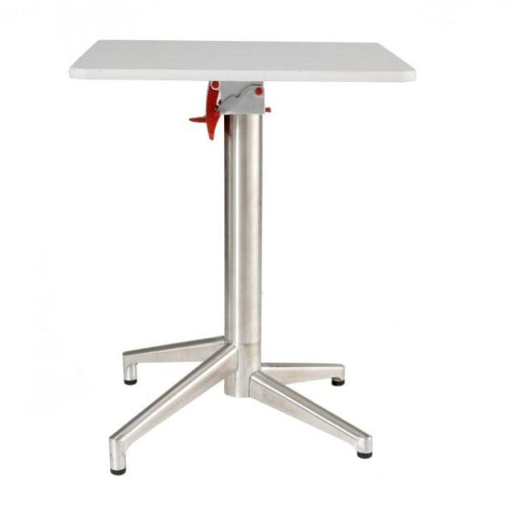 Zinnia table with white top and chrome base