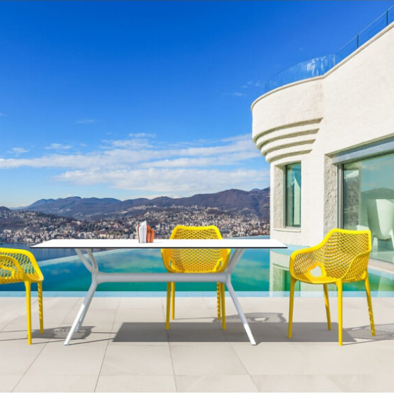 Air Table white with yellow chairs hospitality outdoor furniture