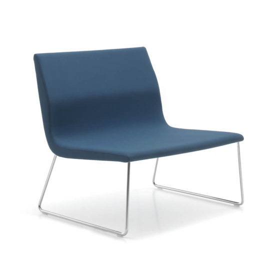 Blue camilla lounge chair on chrome sled base without arms