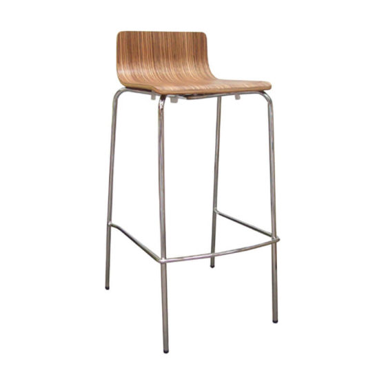 Carla stool timber seat chrome base