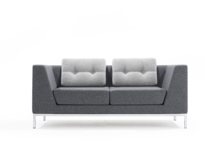 Cloud lounge grey with angled arms and feature back cushion with button detail in contrast grey