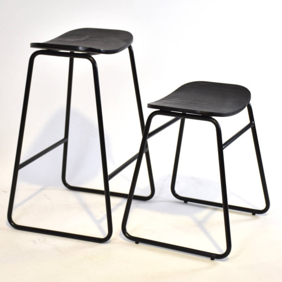 Cosmo stool black shell black sled base with seat