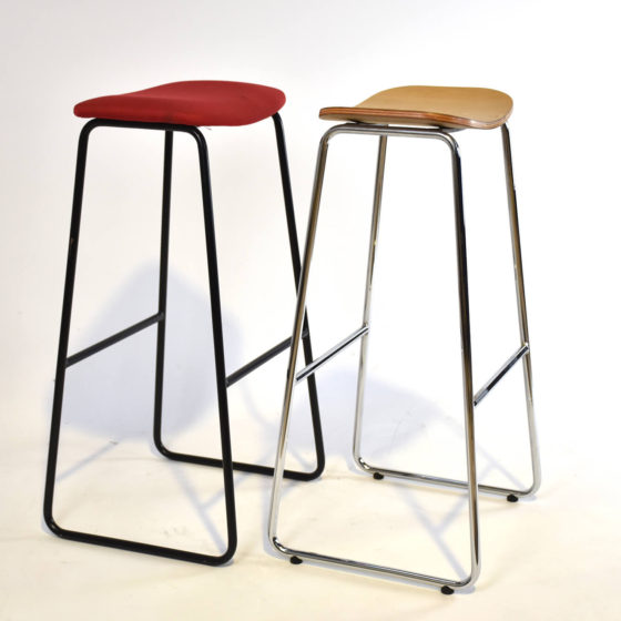 Cosmo stool timber shell chrome sled base with red shell black base