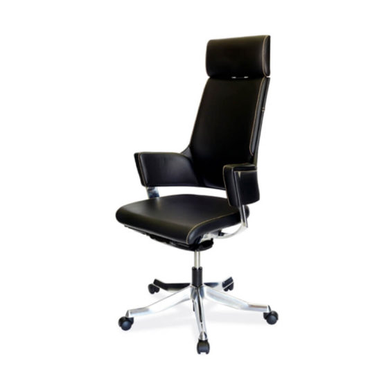 Delphi high back ergonomic executive chair synchro mechanism fixed arms aluminium base