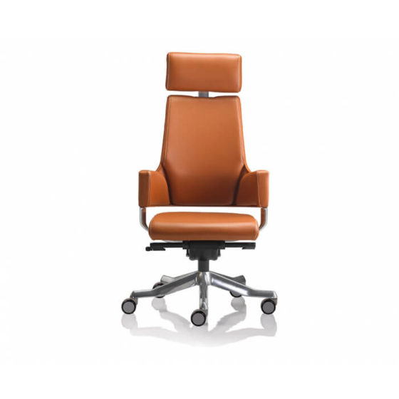 Delphi high back ergonomic executive chair synchro mechanism fixed arms aluminium base tan leather