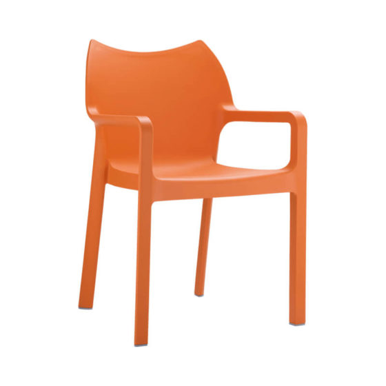 Diva chair with arms orange outdoor hospitality furniture