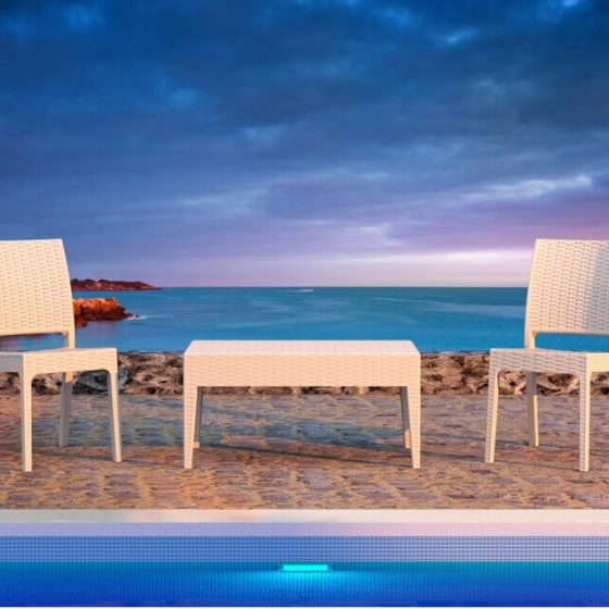 Florida outdoor chair white with table hospitality furniture