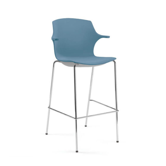 Frill stool blue shell chrome base