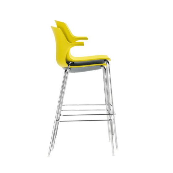 Frill stool yellow shell chrome base stacked