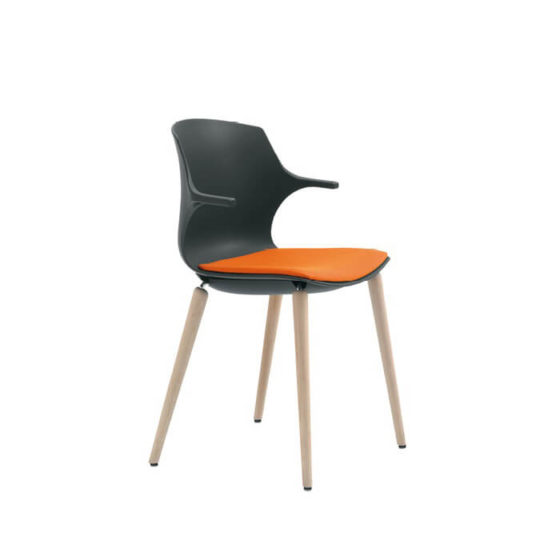 Frill timber black shell with timber 4 leg frame and orange seat pad