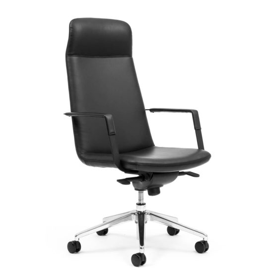 Governor High back ergonomic executive chair with arms side view leatherette