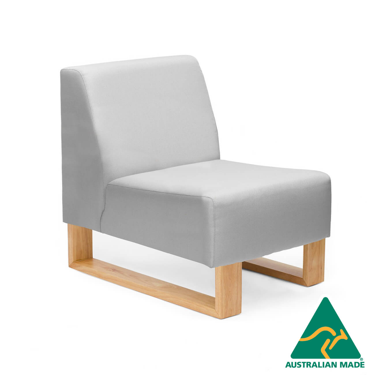 Highway single seater sofa with timber sled base