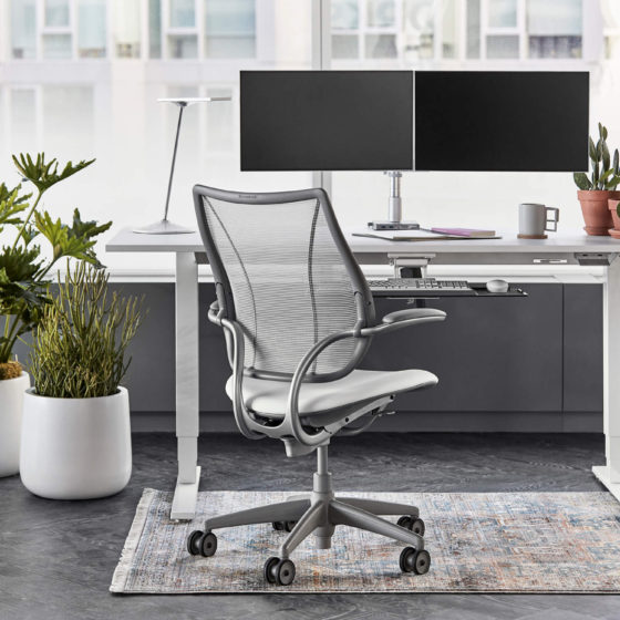 Humanscale Float height adjustable workstation with liberty chair and