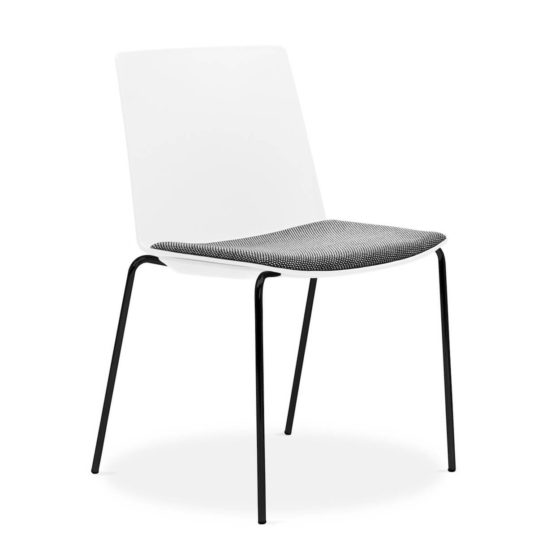 Jubel white shell with black 4 leg frame and grey upholstered seat pad