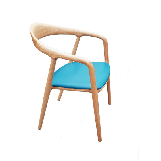 Mae timber armchair with aqua seat pad
