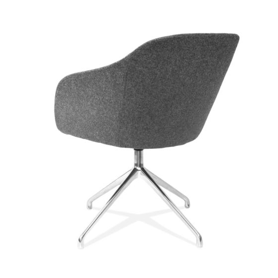 Margherita grey fully upholstered shell chrome swivel base rear angle