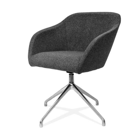 Margherita grey fully upholstered shell chrome swivel base side angle