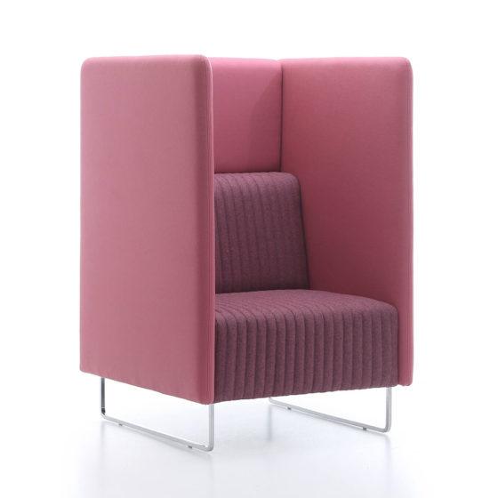 Mona high collaborative lounge seating single seater side angle