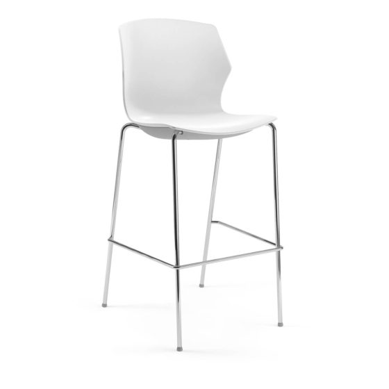 No Frill stool white shell chrome base