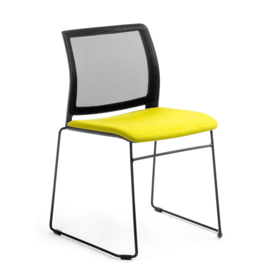Oxygen C02 black mesh back, yellow upholstered seat and sled base
