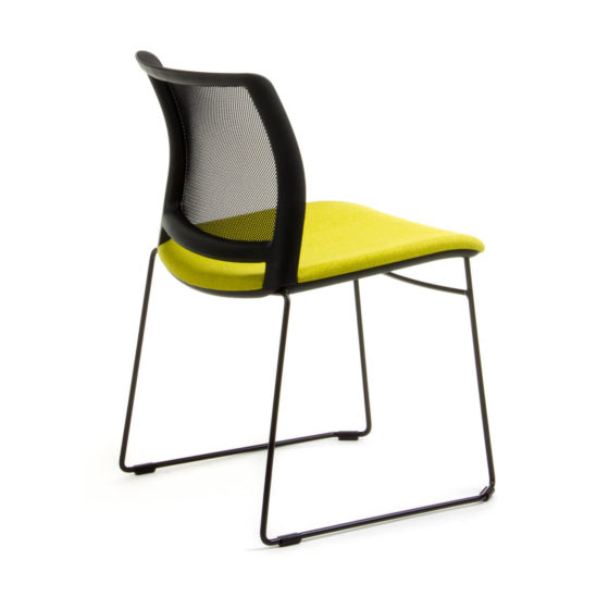 Oxygen C02 chair with mesh back, yellow upholstered seat, sled base rear view