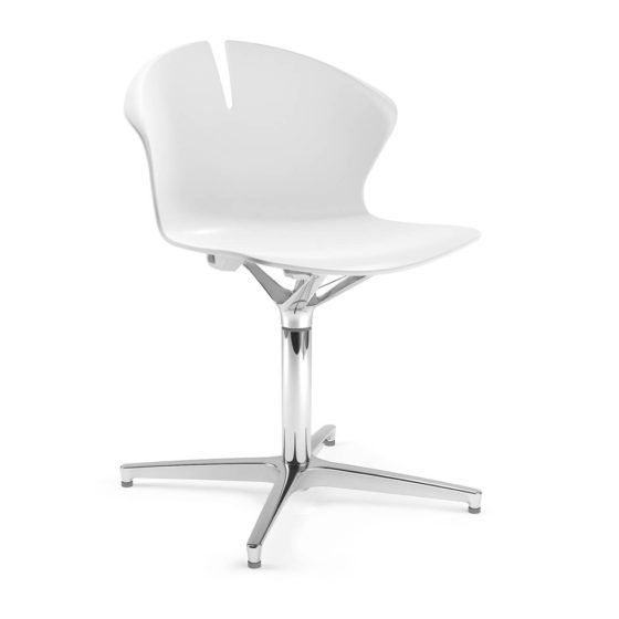 Red Hot chair, white shell with polished aluminium swivel base