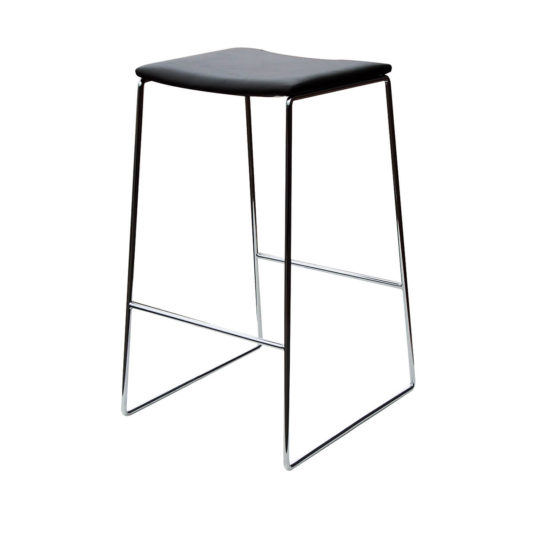 Rio low back stool grey polypropylene shell black sled base