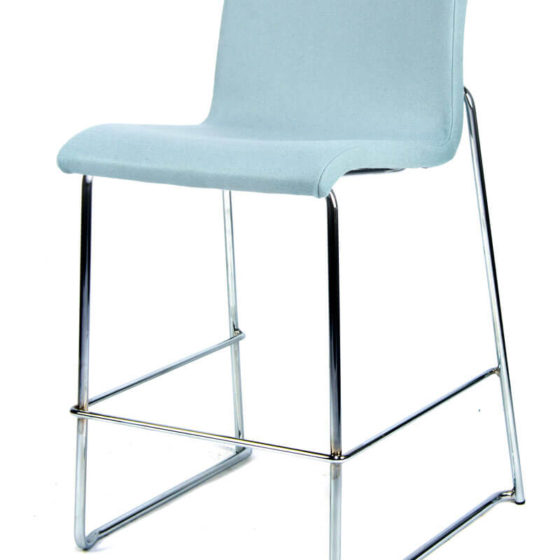 Sixty stool blue upholstered shell chrome sled base front view