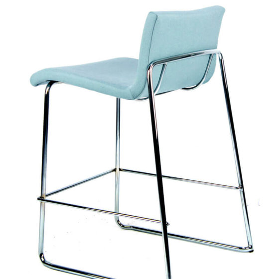 Sixty stool blue upholstered shell chrome sled base rear view