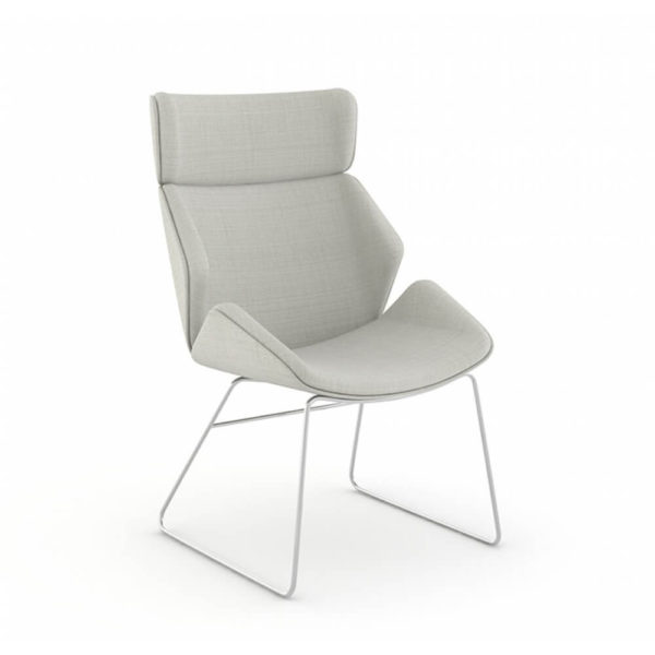 Skara lounge chair with high back, fully upholstered shell with chrome sled base