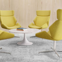 Skara lounge chair with high back, fully upholstered with polished aluminium swivel base