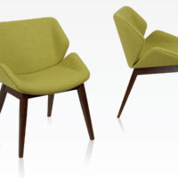 Skara armchair low back, fully upholstered shell with timber 4-leg base