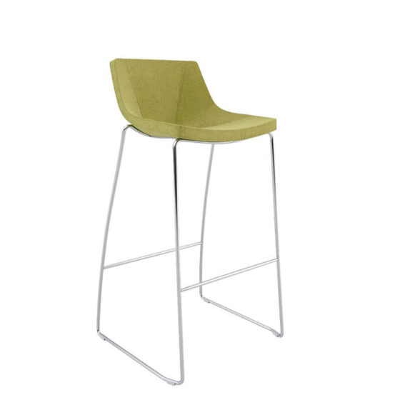 Skoop stool green upholstered shell with chrome sled base