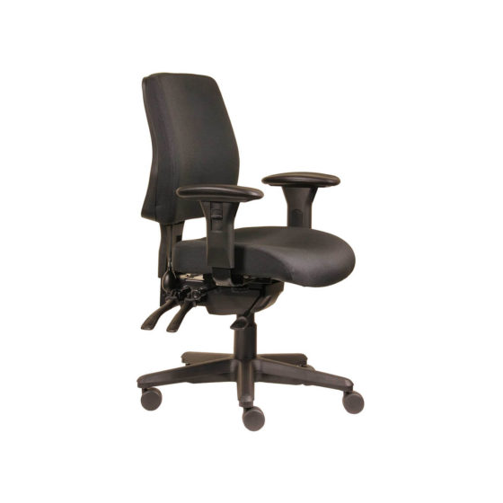 Spark ErgoSelect task chair, Medium back with arms-Black