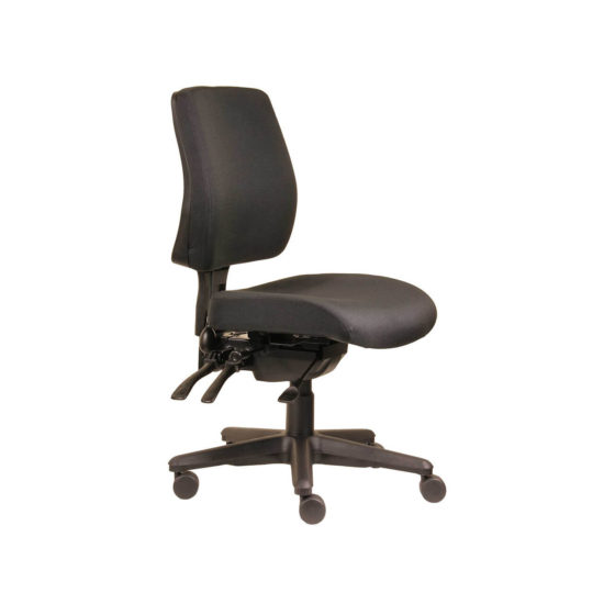 Spark Ergoselect ergonomic task chair upholstered black, medium back, side view. 3 lever mechanism