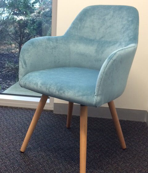 Struve meeting and visitor chair, fully upholstered with timber legs