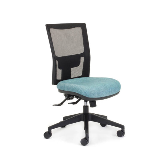 Team Air task chair, mesh back, no arms, blue seat, lumbar suppor, 3 Lever mechanism