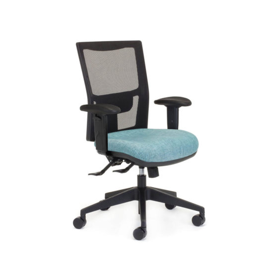 Team Air task chair with arms, mesh back and blue seat
