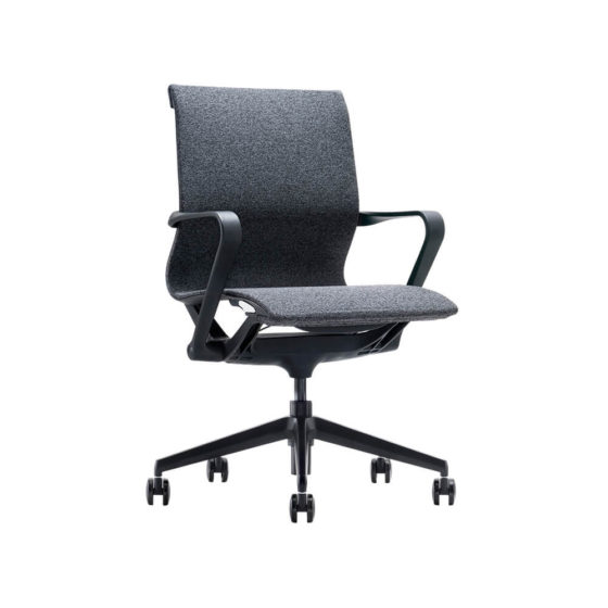 VRP conference and meeting chair with arms, black, front view