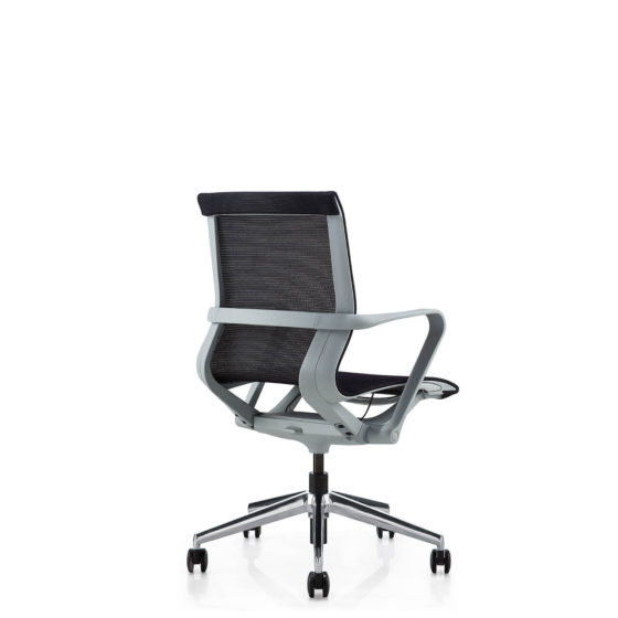 VRP mesh meeting and conference chair with polished aluminium base on castors and white frame