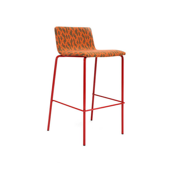 Zelo d stool orange upholstered shell orange 4 leg frame