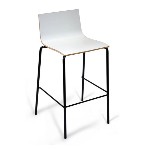 Zelo d stool white timber shell black 4 leg frame