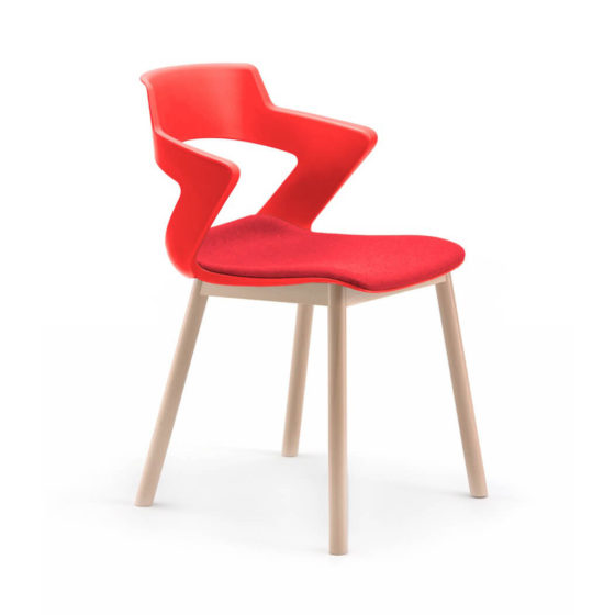 Zen red polypropylene shell with timber 4 leg frame with seat pad