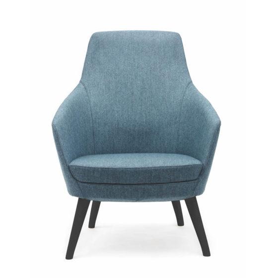 annette lounge armchair medium back black timber frame