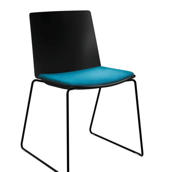 jubel black shell with black 4 leg frame and aqua seat pad