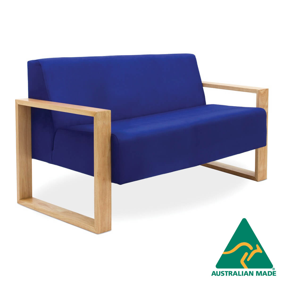 malibu double seater blu upholstery timber frame