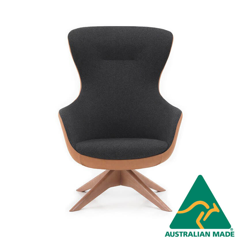 queen lounge chair armchair timber back and pyramid frame