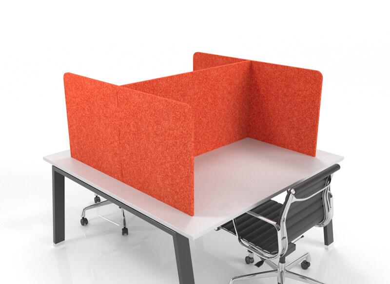 CUBEX double-sided acoustic desk pod, orange. in H configuration.