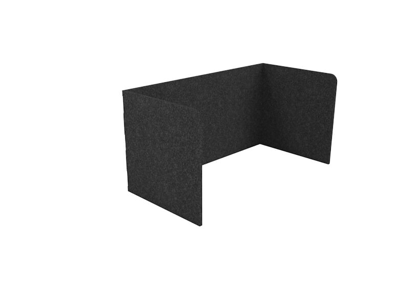 CUBEX single acoustic pod with radial corner detail. Charcoal.