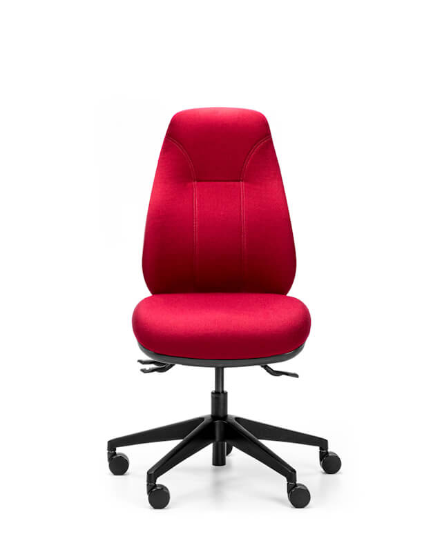 Red Orthopod by Therapod Classic 135 ergonomic task chair without arms, front view
